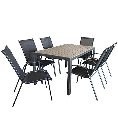 7tlg. Gartengarnitur Aluminium Polywood Gartentisch 150x90cm + Stapelstuhl mit Textilenbespannung Gartenstuhl Sitzgruppe Sitzgarnitur Gartenmöbel Set