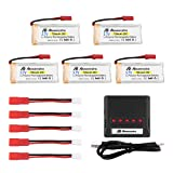 Powerextra 5Pcs 3.7V 750mAh Lipo Battery(JST Plug) with X5 Charger for MJX X400 X400W X800 X300C Sky Viper S670 V950hd V950str HS200W RC Quadcopter Holy Stone F181