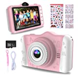 WOWGO Kids Digital Camera - 12MP Children's Camera with Large Screen for Boys and Girls, 1080P Rechargeable Electronic Camera with 32GB TF Card (Color: Pink)
