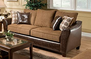 Chelsea Home Furniture Union Sofa, Too Good/PU Chocolate/Tokyo Oak/PU Pillows(4)