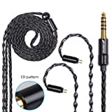 FDBRO 8-core Earphone Upgrade Cable CD Texture Plug Replacement Cable Detachable Ear-Hook Type OFC Silver Plated Earphone Cable for UM3X ES3 ES5 W4R ZS5 ZS6 ZS10 ZST ZSR (0.78mm 2PIN, Black+4.4mm) (Color: Black+4.4mm, Tamaño: 0.78mm 2PIN)