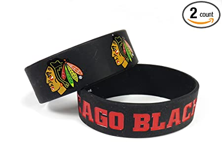 NHL Chicago Blackhawks Silicone Rubber Bracelet Set, 2-Pack