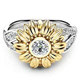 iLH® Clearance Ring,ZYooh Women Two Tone Silver Floral Ring Diamond Gold Sunflower Jewelry Gift (Silver, 9) (Color: Silver, Tamaño: 9)