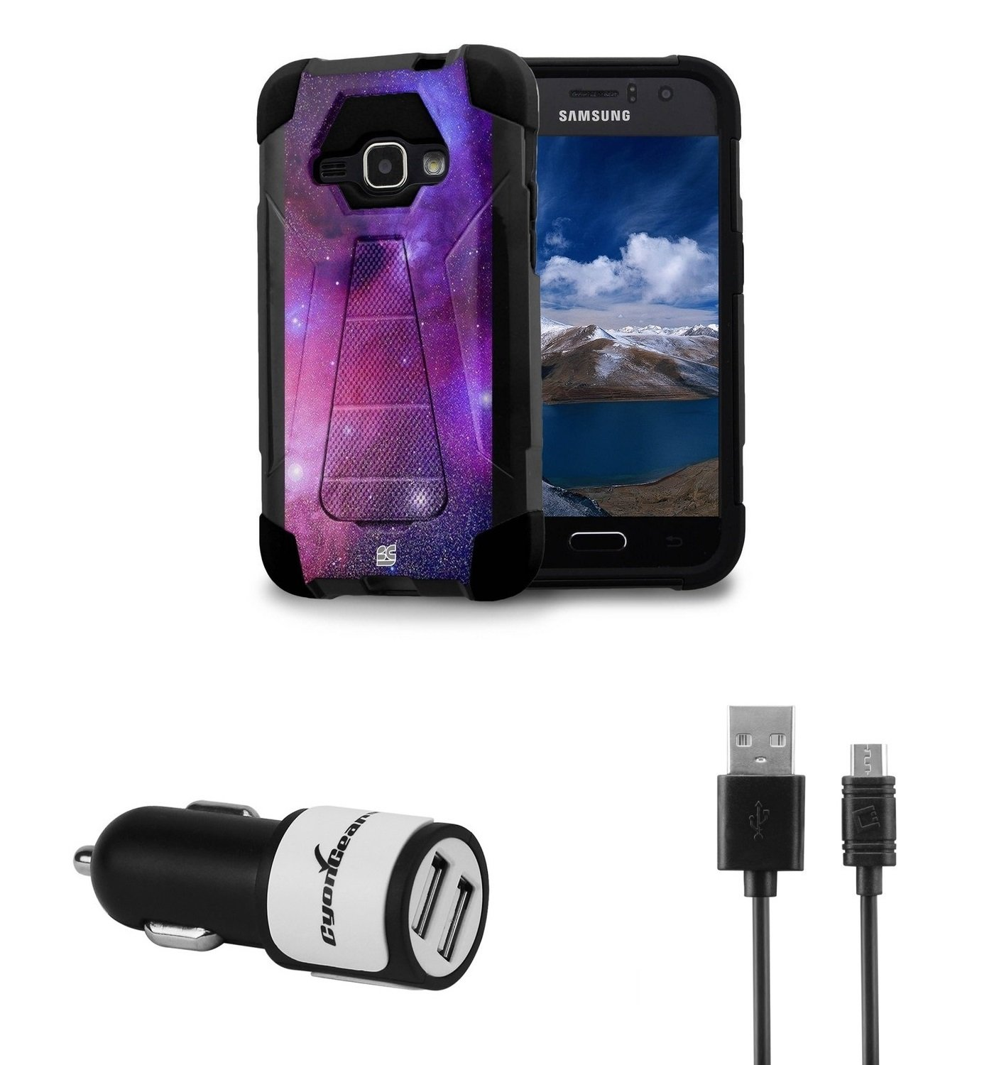 Samsung Galaxy Luna - [Nebula] Dual Armor Kickstand Case, Atom LED and 10W / 2. 1A Dual Port Car Charger with Micro USB Cable