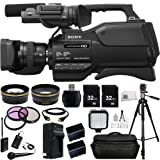 Sony HXR-MC2500 HXRMC2500 Shoulder Mount AVCHD Camcorder with 3-Inch LCD (Black) + Audio-Technica ATR288W VHF TwinMic System.43x Wide Angle Lens, 2.2x Telephoto Lens + MORE