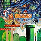 Super Mario Bros - Mario Brothers - Video Game Art - Fine art print - giclee - Nintendo - van Gogh Never Played With Fire - Art by Aja 10x10 inches