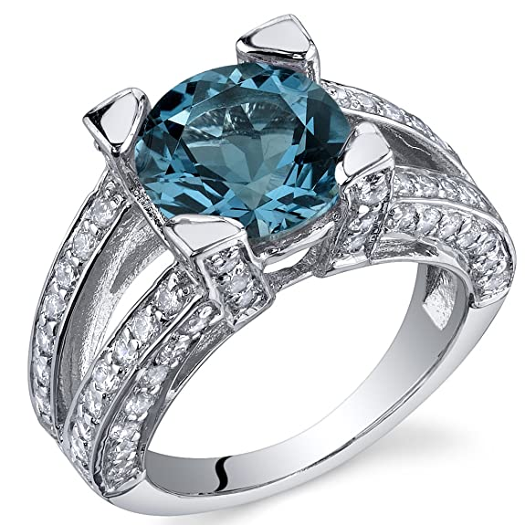 Revoni Boldly Glamorous 3.25 Carats London Blue Topaz Ring in Sterling Silver