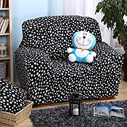 yazi Black White Stars Removable Elastic Recliner Slipcover Chair Protector Cover One-Seater 35-55 Inch