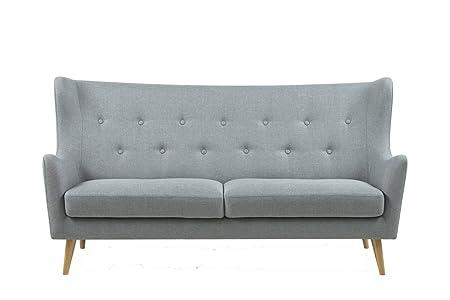 Synoun divano a posti Lgray tessuto con gambe in legno naturale in stile retrò combinare Renta