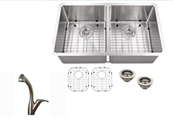 "MSRA5050P809 50/50 32""x19""x10"" Double Bowl Tiny Radius 16 Gauge Stainless Steel Sink INCLUDES Grid Set and Strainers and Stainless Steel Faucet"