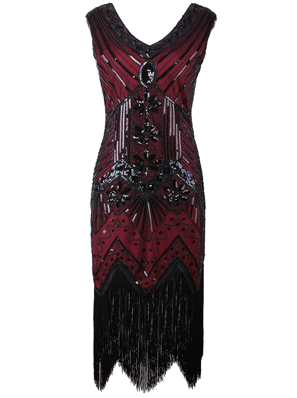 Vijiv Women 1920s Gastby Sequin Art Nouveau Embellished Fringed Flapper Dress 0