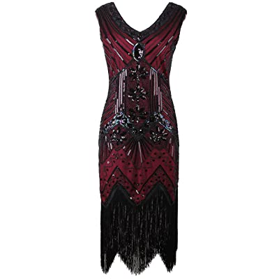 Vijiv Women 1920s Gatsby Sequined Art Nouveau Embellished Fringed Flapper Dress