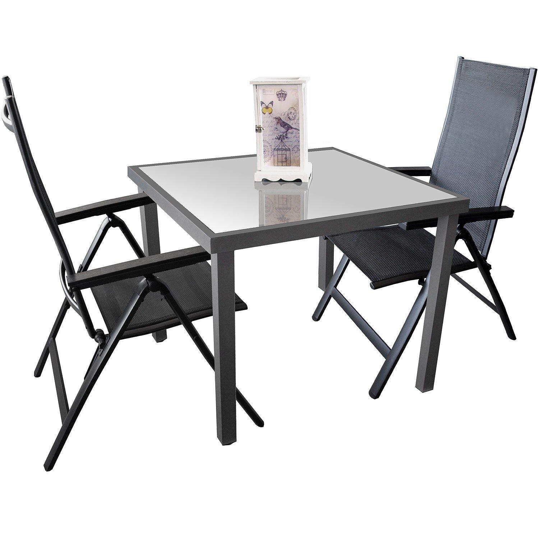 3tlg. Gartengarnitur Sitzgruppe Sitzgarnitur Terrassenmöbel Aluminium Glastisch 90x90cm Alu Hochlehner 6-Positionen 4x4 Textilen Polywood Armlehnen