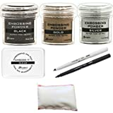 Embossing Kit Bundle - 3 Ranger Super Fine Embossing Powder, 1 Bye Bye Static Pad, 1 Ranger Emboss It Foam Pad and Two Emboss It Pens Black and Clear (Color: multicolored)