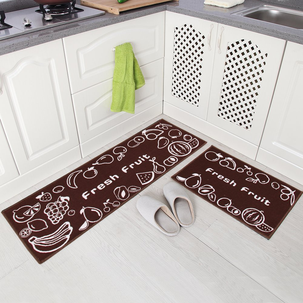 Carvapet 2 Piece Non Slip Kitchen Mat Rubber Backing