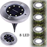 Leedford Hot Sale 8LED Solar Power Buried Light Under Ground Lamp Outdoor Path Way Garden Decking (Warm White, one size) (Color: Warm White, Tamaño: one size)