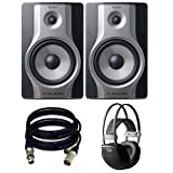 M-Audio BX8 Carbon Pair Speaker Studio Monitors for Music Production and Mixing. With free AKG k44 and 2 XLR Cables. (Color: Black)