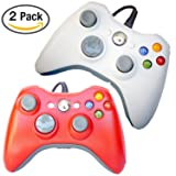 FSC Mixed Pack of 2 USB Wired Game Pad Controller for Use With Xbox 360, Windows 10 5 Colors (Red/White)