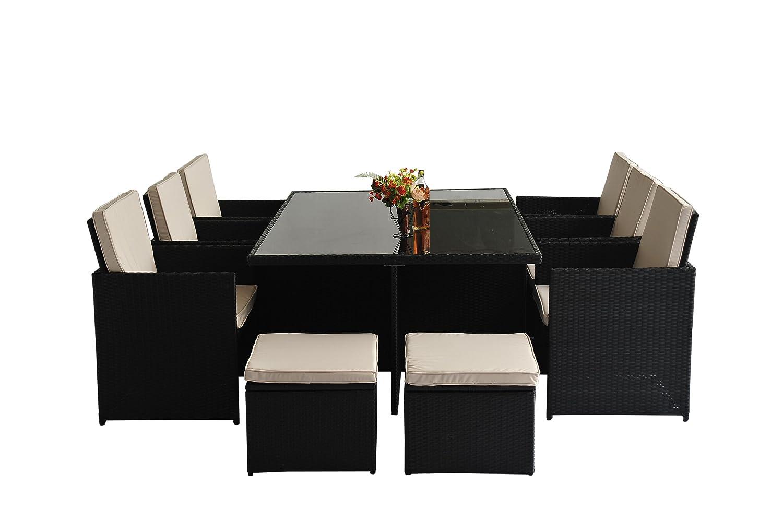 Polyrattan Gartenmöbel 27 tlg. Rattan Gartenset Essgruppe Lounge Sitzgruppe Sofa Loungemöbel Garnitur inkl. Kissen Alu Gestell jetzt kaufen