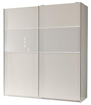 Wimex 162771 Schwebeturenschrank 198 x 180 x 64 cm, alpinweiß, Absetzungen Glas weiß und Strasskristall