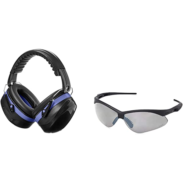 AmazonBasics Safety Ear Muffs Ear Protection, Black and Blue, and Safety Glasses, Smoke Lens (Color: Black and Blue)