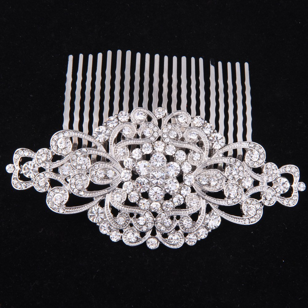 Fairy Moda Rhinestone Bridal Hair Comb Silver Wedding Bridesmaid Gift Vintage Hair Piece 4