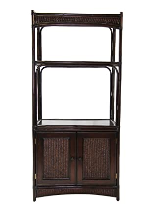 Boca Rattan Bali Entertainment with Cabinet in Coffee Bean