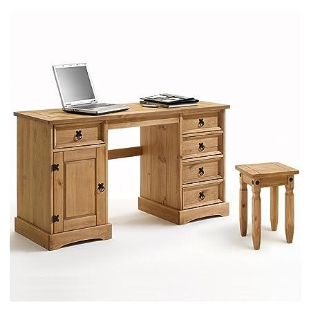Schreibtisch TEQUILA im Mexico Stil Computertisch Mexiko Möbel, Kiefer massiv gewachst mit Hocker