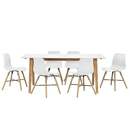 [en.casa]® Set de comedor - Mesa de diseño con 6 sillas - blanco / bambú (180x80cm) - conjunto de sillas