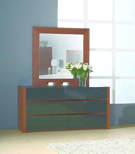 BH Design Stark Dresser with High Gloss Black Drawers and Black Glass Top, Walnut Veneer