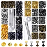 Snap Buttons and Leather Rivets, Anezus 120 Set Leather Snap Fasteners Kit and 240 Sets Leather Rivets with Setting Tools for Leather Craft Repairs Decoration (Color: assorted colors)