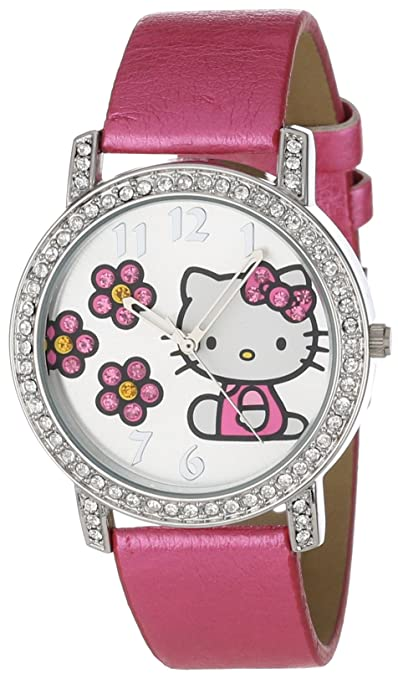 Sanrio Hello Kitty Pink Strap Silver Dial Watch