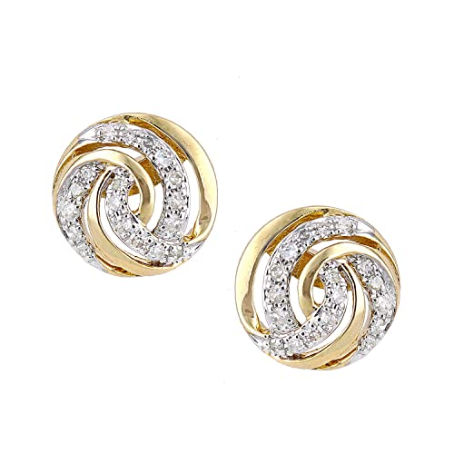 Naava 9ct Yellow Gold Diamond Twist Design Stud Earrings