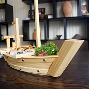 """HUANGYIFU Wooden Sushi Tray Serving Boat Plate Large Size 40-60cm/15""""-23"""" for Restaurant (Color: 15.8)"""