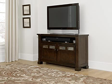 54 in. TV Console Table in Mesa Brown Finish
