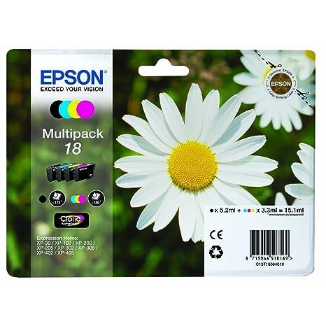Epson C13T18064010 Cartouches d'encre pour Epson Expression Home XP 322 Noir/cyan/magenta/jaune