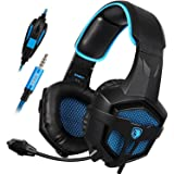 New Xbox One Gaming Headset SADES SA807 Stereo Sound Gaming Headphone 3.5mm Wired Over Ear with Mic for Playstation 4 Mac Laptop PC (Color: SA807 blue)