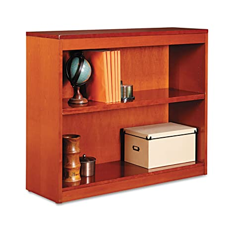 Square Corner Wood Veneer Bookcase, 2-Shelf, 35-3/8 x 11-3/4 x 30, Medium Cherry, Sold as 1 Each