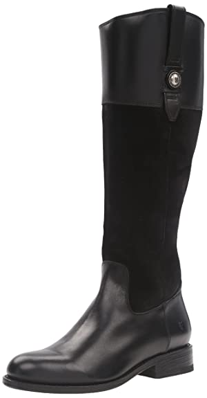 FRYE Women's Jayden Button Tall Leather and Suede Riding Boot, Black, 6 M US