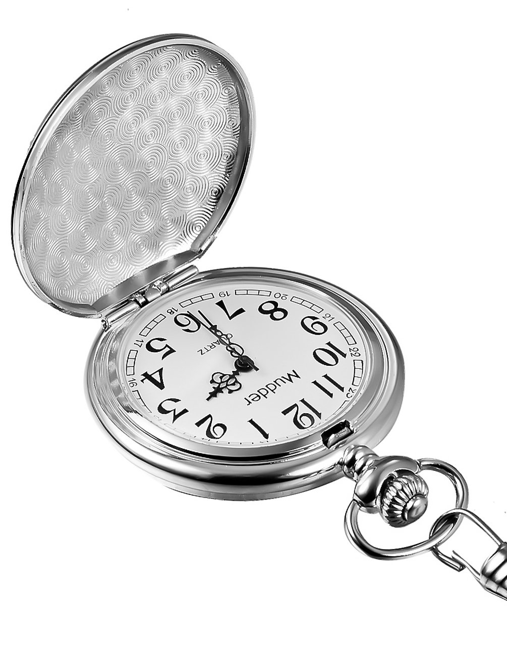 Mudder Classic Smooth Vintage Silver Steel Mens Pocket Watch Xmas Gift 2