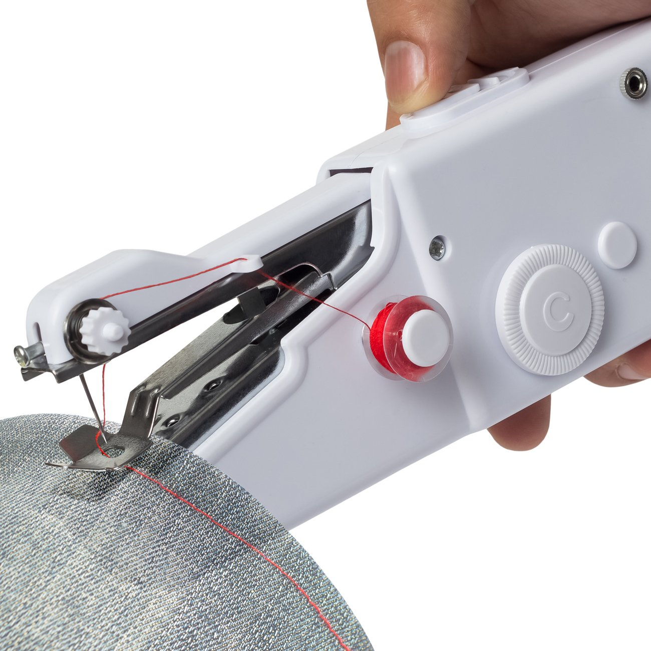 Sewing Machine Professional Handheld - Quick Stitch Tool for Fabric, Clothing, or Kids Cloth - Great for Traveling or use in Home - Includes Threads Needles Accessories - Cordless