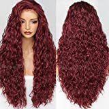 PlatinumHair natural red water wave synthetic lace front wavy wigs glueless for black women synthetic hair wigs 22-26inch (Color: Burgundy Loose Curls, Tamaño: Burgundy Loose Curls)