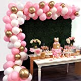 Balloon Garland Arch Kit 16Ft Long 112pcs Pink White Gold Balloons Pack for Girl Birthday Baby Shower Bachelorette Party Centerpiece Backdrop Background Decorations (Color: Pink White Gold, Tamaño: 16ft long)