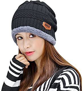 affefa66b42 Winter Beanie Hat Scarf Gloves Slouchy Snow Knit Skull Cap Infinity Scarves  Touch Screen Mittens for