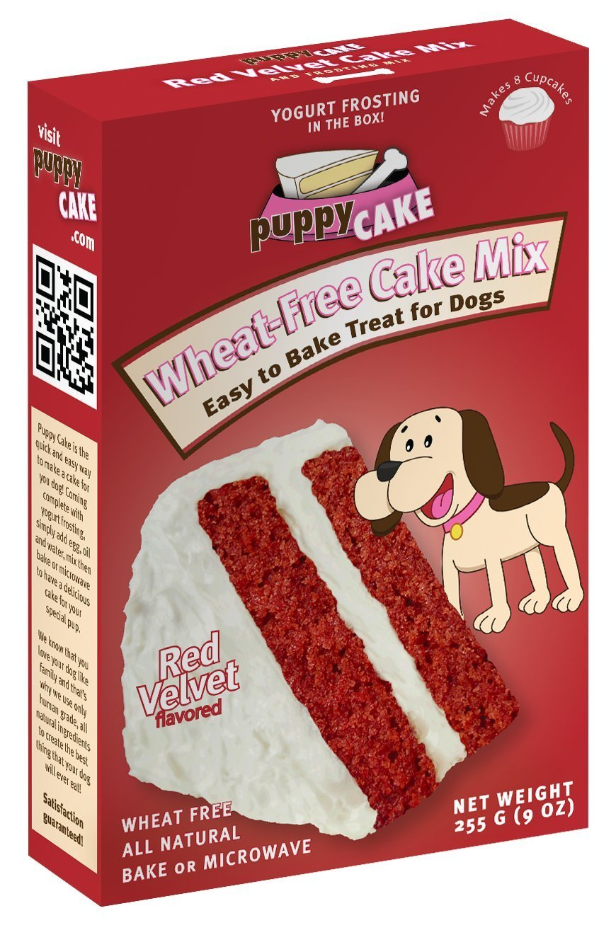 Dog Eating Red Velvet Cake Mix