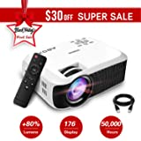Projector, 2018 Updated ABOX T22 Portable Home Theater LCD Video Projector Support 1080p HDMI USB SD Card VGA AV Phone Laptops for Home Cinema TV 60 ANSI Lumen White (Color: white)