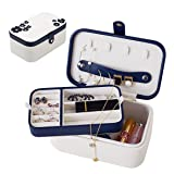 B.Catcher Girls Two-Layer Suede Leather Travel Jewelry Box Display Storage Case Holder for Earring Ring Necklace Bracelet with Magnetic Snap Closure (Color: Milk White, Purple, Tamaño: 17.8*10.8*7.5cm)