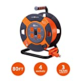 Link2Home Cord Reel 80 ft. Extension Cord 4 Power Outlets - 14 AWG SJTW Cable. Heavy Duty High Visibility Power Cord. (Color: Grey / Orange, Tamaño: 80 ft)