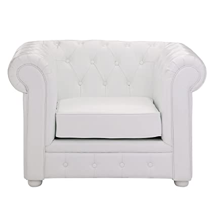 Premier Housewares Chesterfield Chair Leather - 90 x 110 x 73 cm, White