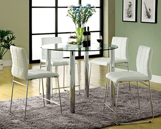 5 Pc. Kona II Glass Counter Height Dining Table Set with white leather like vinyl Chrome Finish Legs